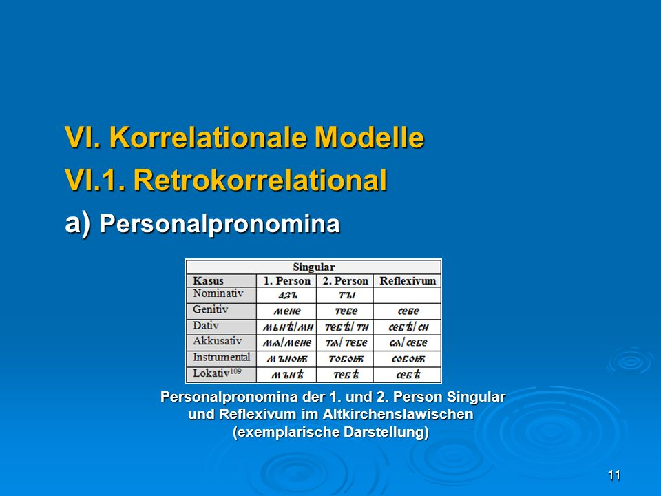 VI. Korrelationale Modelle VI.1. Retrokorrelational