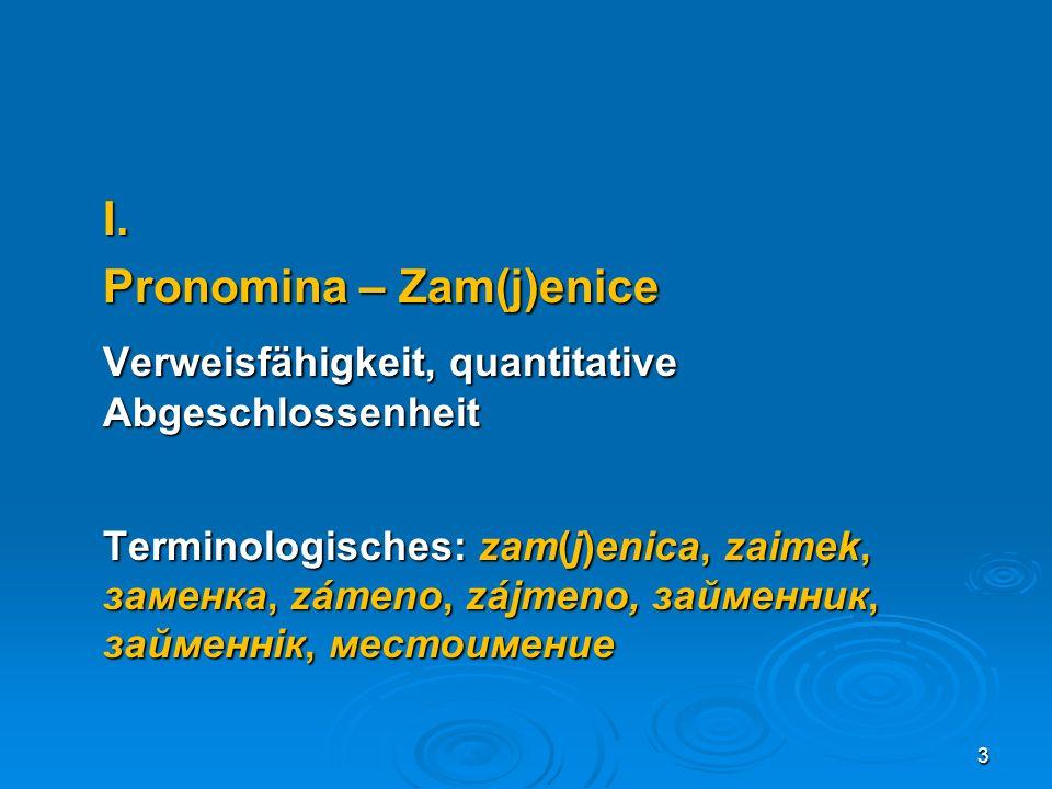 Pronomina – Zam(j)enice