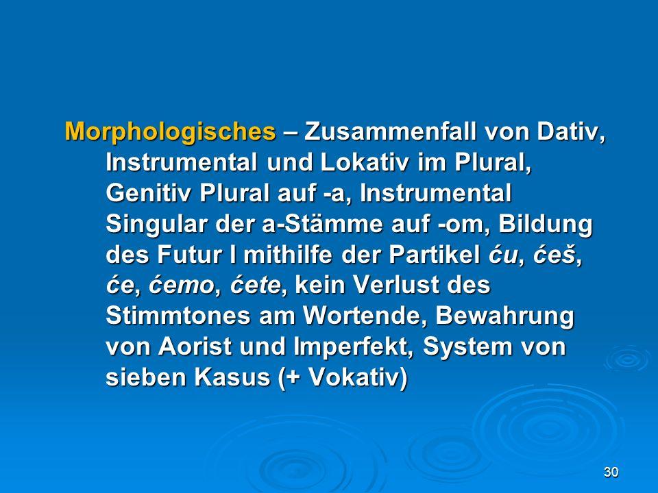 Morphologisches – Zusammenfall von Dativ,