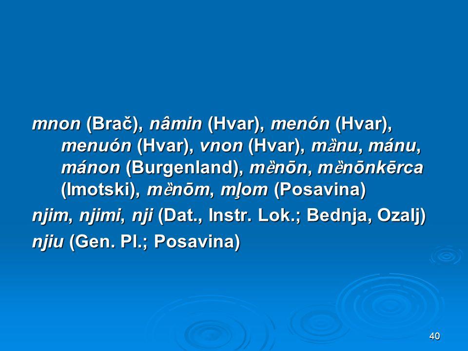 mnon (Brač), nâmin (Hvar), menón (Hvar), menuón (Hvar), vnon (Hvar), mȁnu, mánu, mánon (Burgenland), mȅnōn, mȅnōnkērca (Imotski), mȅnōm, mļom (Posavina) njim, njimi, nji (Dat., Instr.