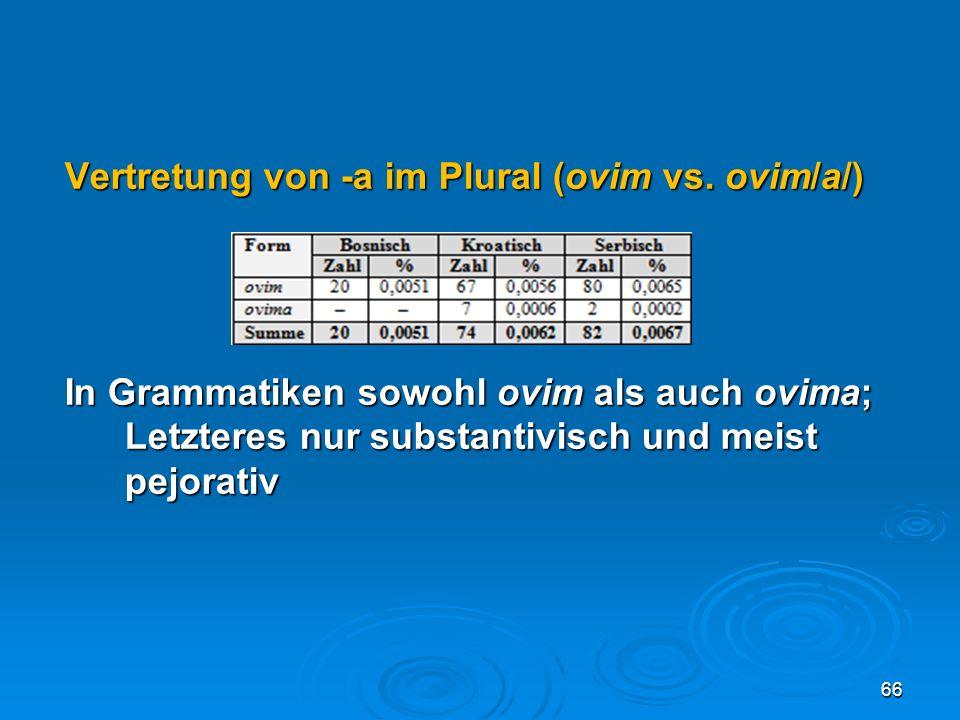 Vertretung von -a im Plural (ovim vs