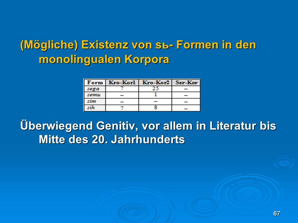 (Mögliche) Existenz von sь- Formen in den monolingualen Korpora