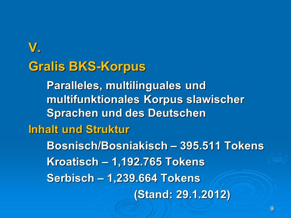 V. Gralis BKS-Korpus. Paralleles, multilinguales und multifunktionales Korpus slawischer Sprachen und des Deutschen.