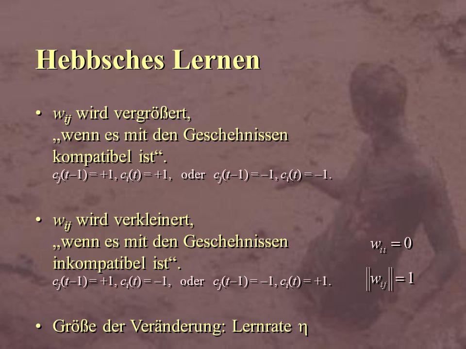 """Hebbsches Lernen wij wird vergrößert, """"wenn es mit den Geschehnissen kompatibel ist . cj(t-1) = +1, ci(t) = +1, oder cj(t-1) = –1, ci(t) = –1."""