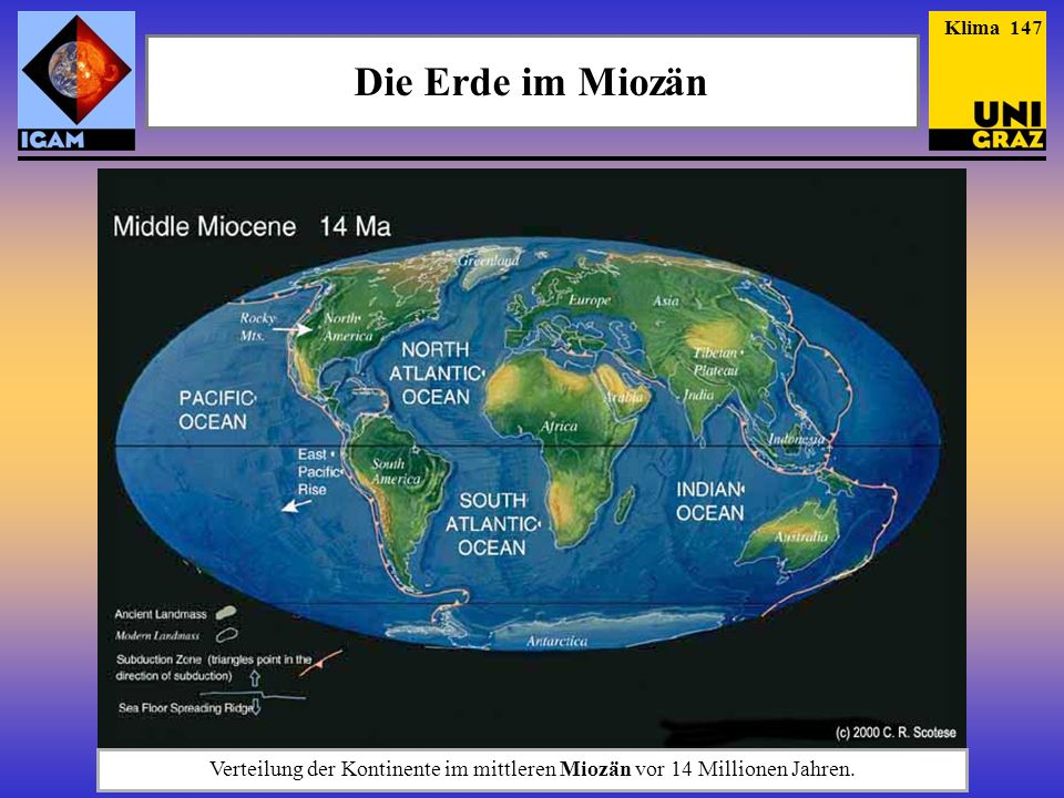 Verteilung der Kontinente im mittleren Miozän vor 14 Millionen Jahren.