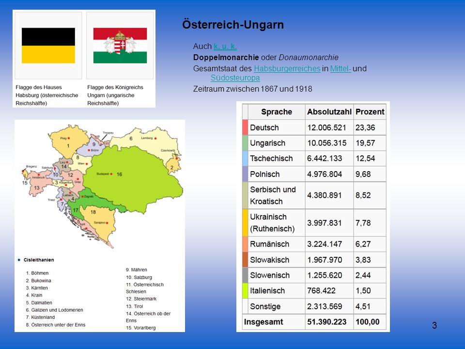 Österreich-Ungarn Auch k. u. k. Doppelmonarchie oder Donaumonarchie