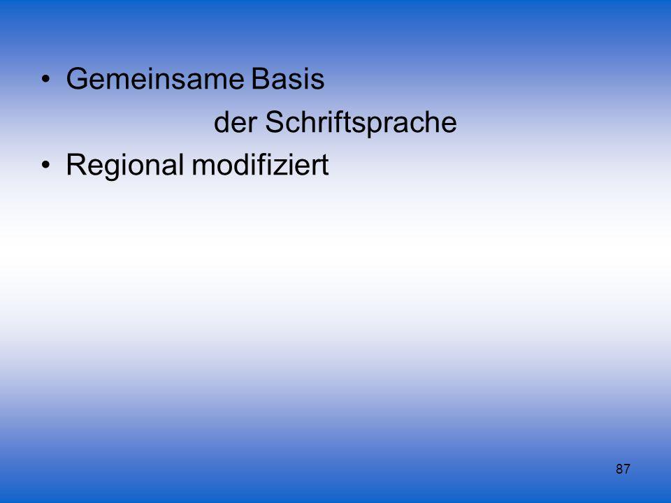 Gemeinsame Basis der Schriftsprache Regional modifiziert