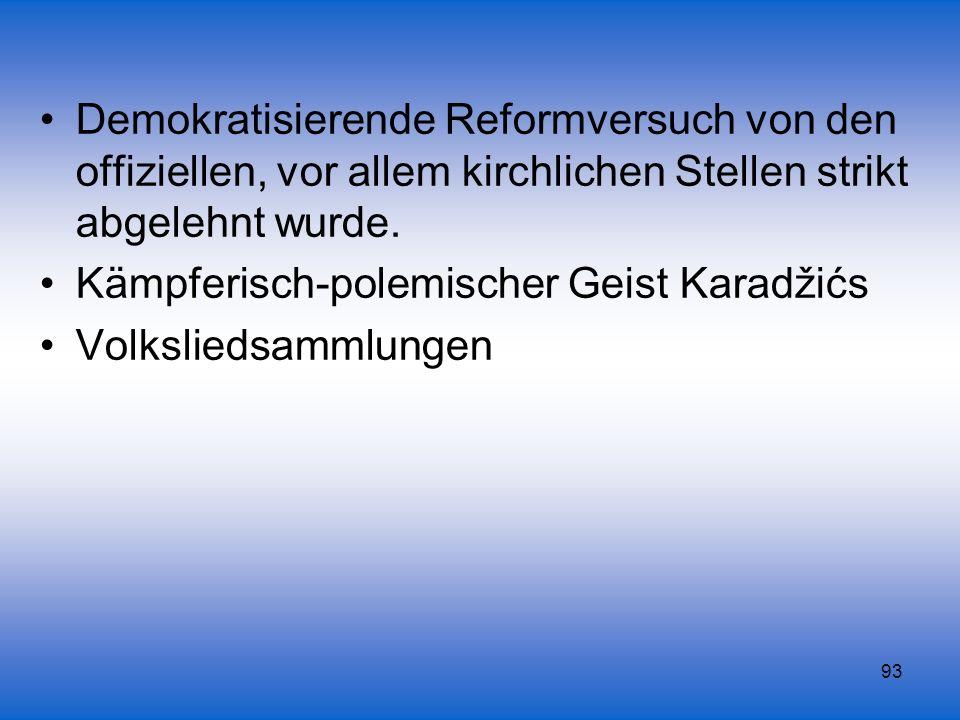 Demokratisierende Reformversuch von den offiziellen, vor allem kirchlichen Stellen strikt abgelehnt wurde.