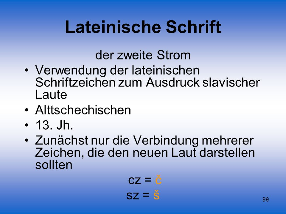 Lateinische Schrift der zweite Strom