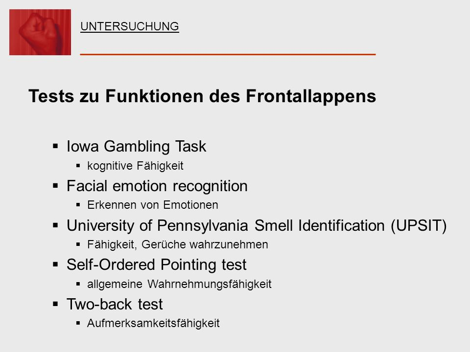 Tests zu Funktionen des Frontallappens