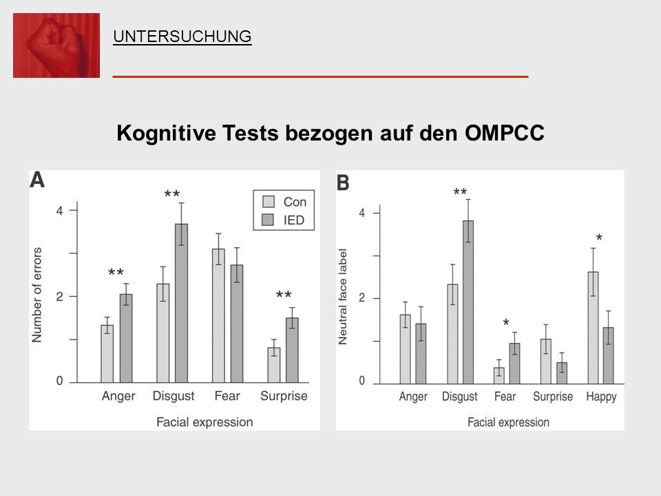 Kognitive Tests bezogen auf den OMPCC