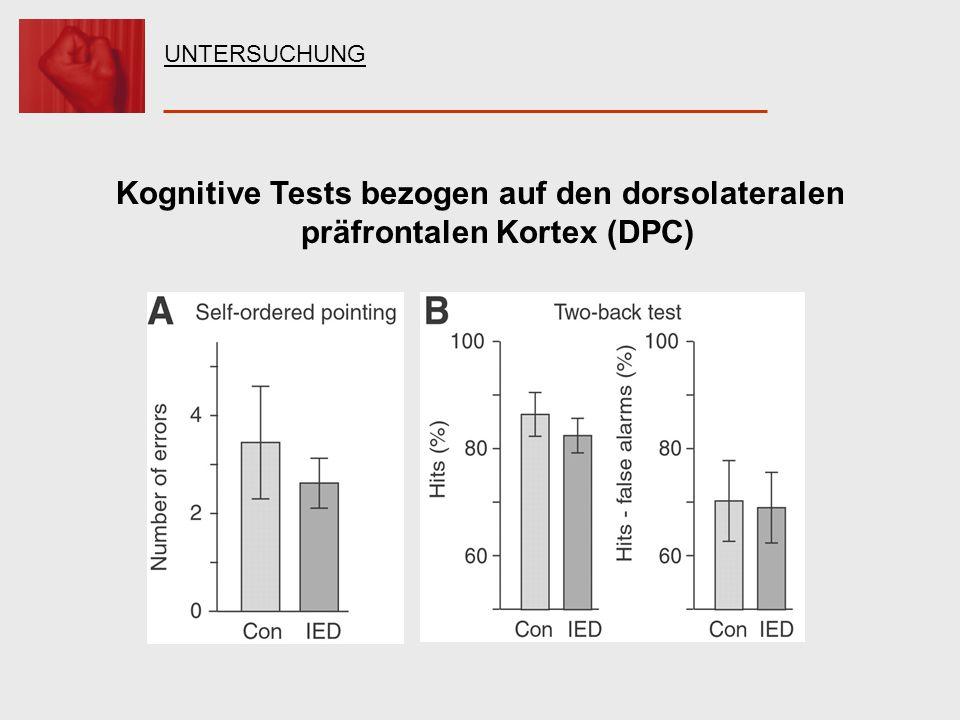 UNTERSUCHUNG Kognitive Tests bezogen auf den dorsolateralen präfrontalen Kortex (DPC)