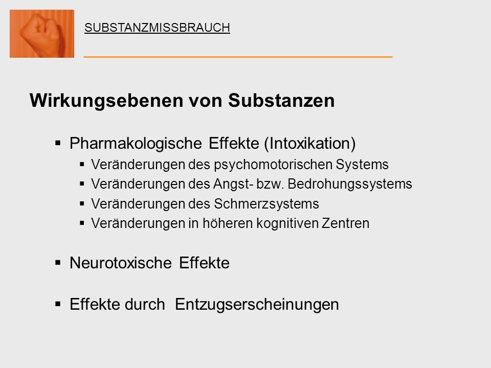 Wirkungsebenen von Substanzen