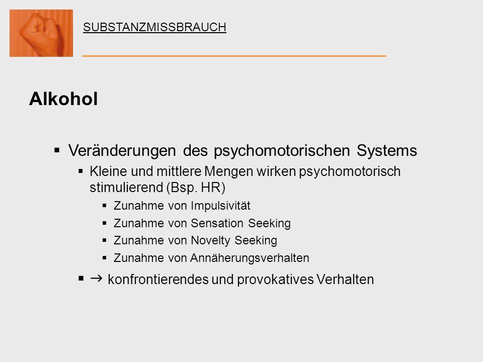 Alkohol Veränderungen des psychomotorischen Systems