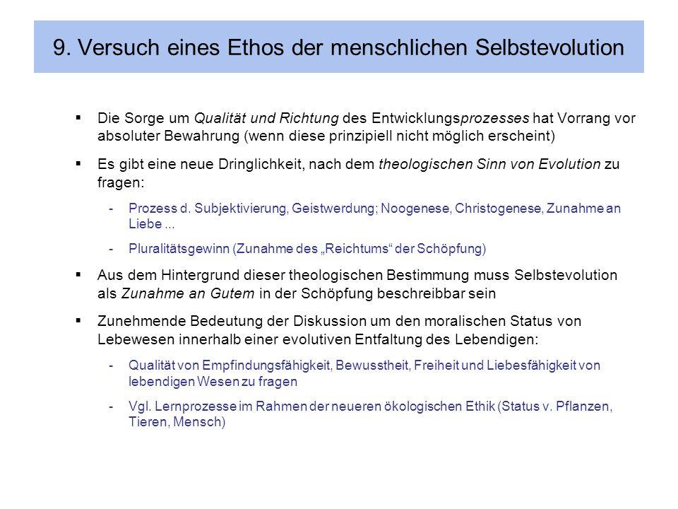 9. Versuch eines Ethos der menschlichen Selbstevolution