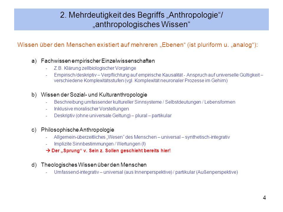 """2. Mehrdeutigkeit des Begriffs """"Anthropologie / """"anthropologisches Wissen"""
