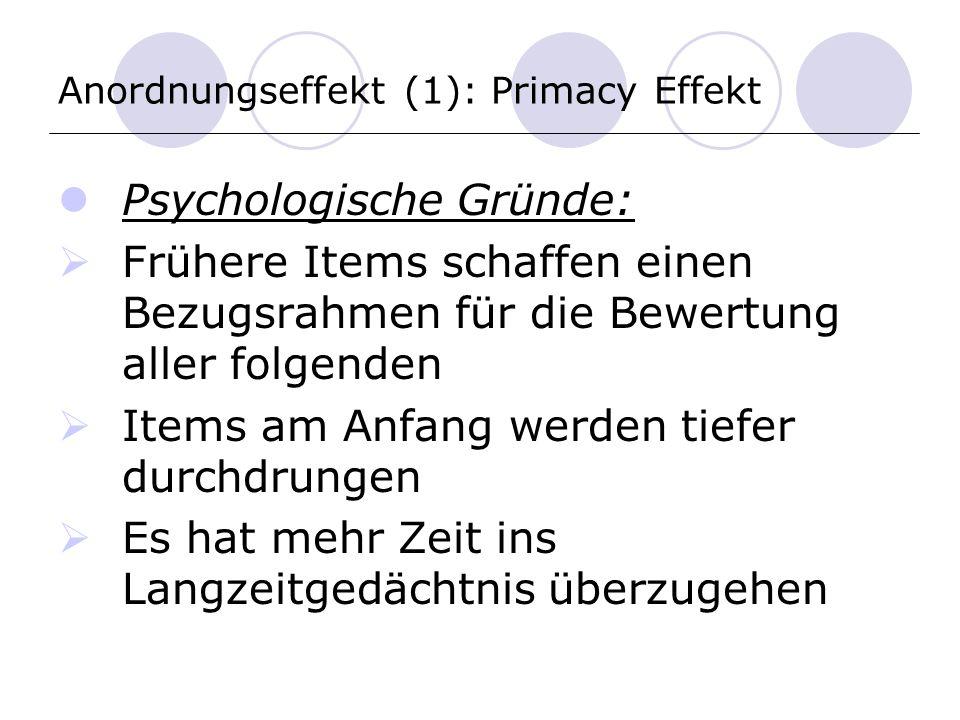 Anordnungseffekt (1): Primacy Effekt