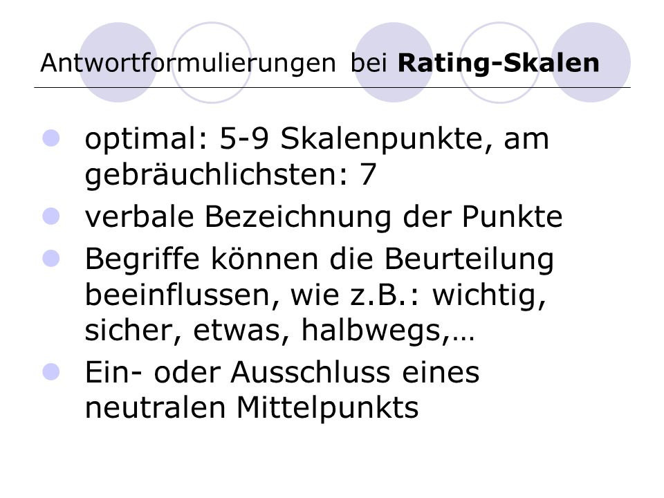 Antwortformulierungen bei Rating-Skalen