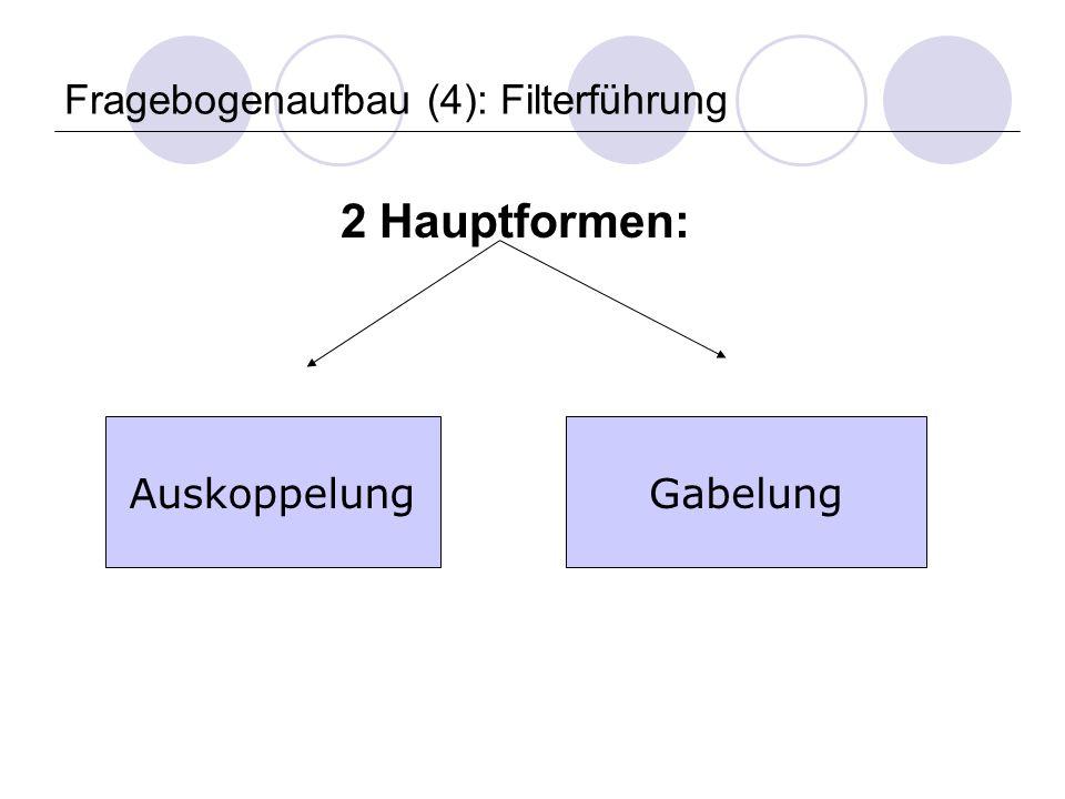 Fragebogenaufbau (4): Filterführung