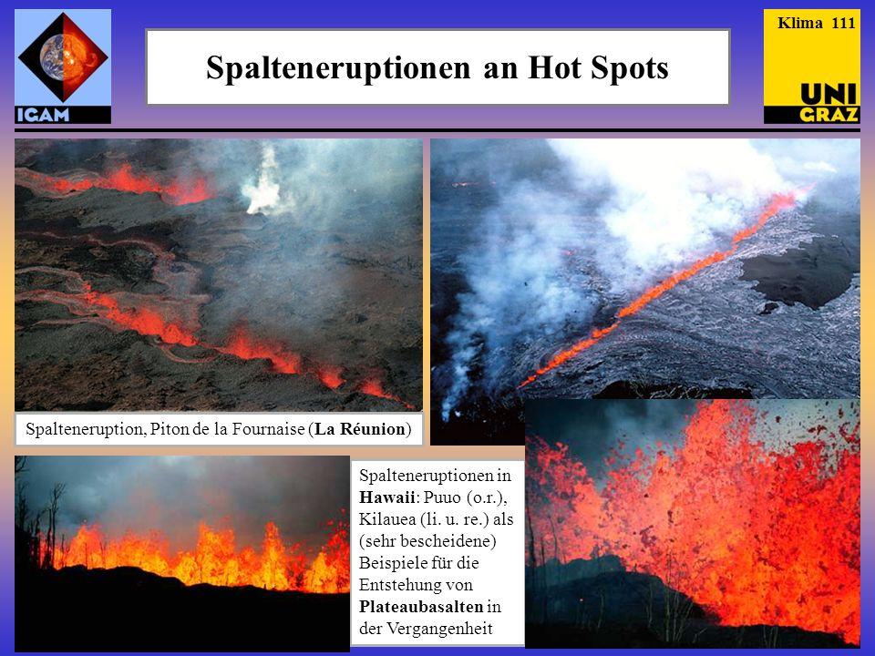 Spalteneruptionen an Hot Spots