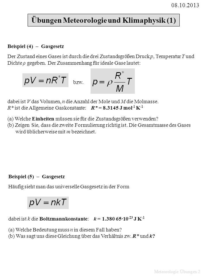 Übungen Meteorologie und Klimaphysik (1)