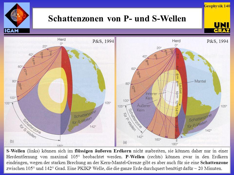 Schattenzonen von P- und S-Wellen