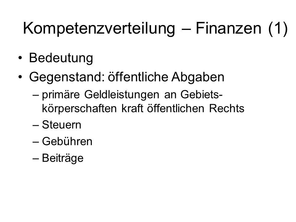Kompetenzverteilung – Finanzen (1)