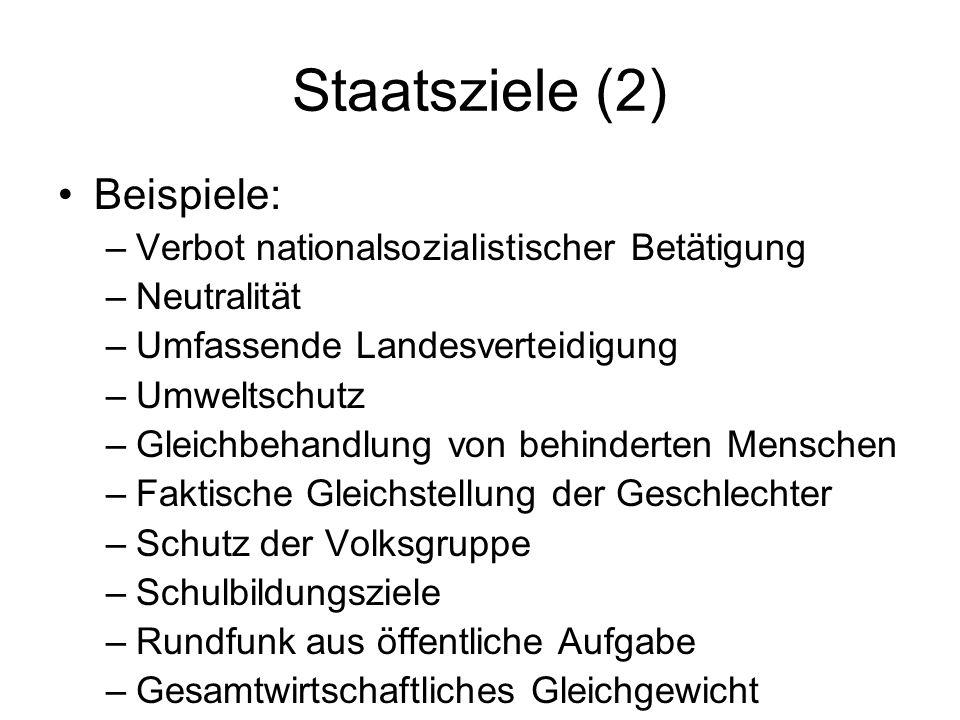 Staatsziele (2) Beispiele: Verbot nationalsozialistischer Betätigung