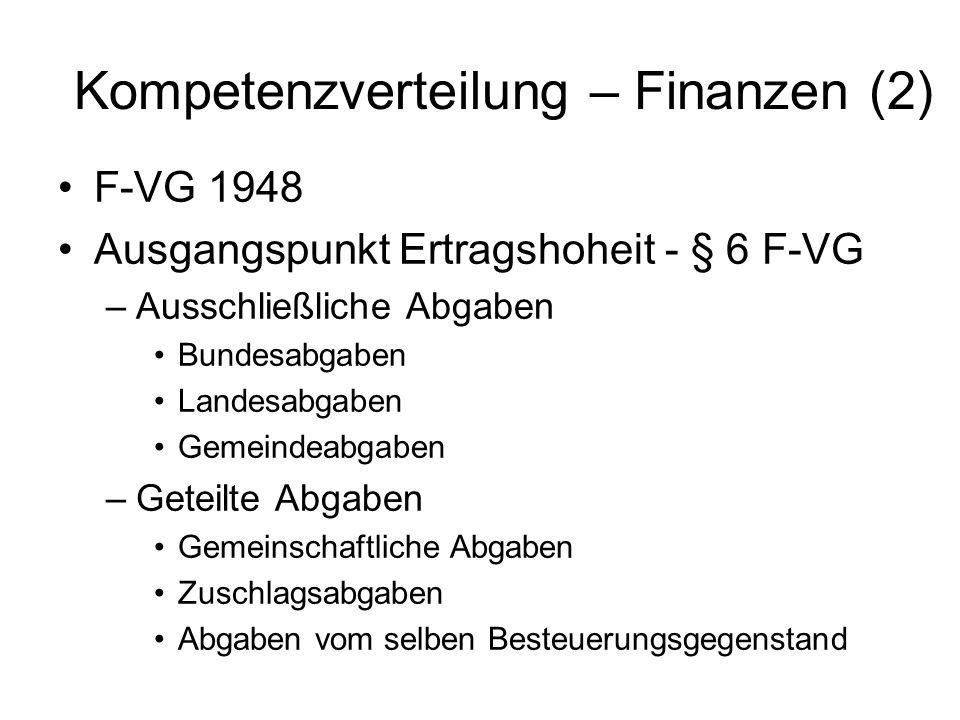 Kompetenzverteilung – Finanzen (2)
