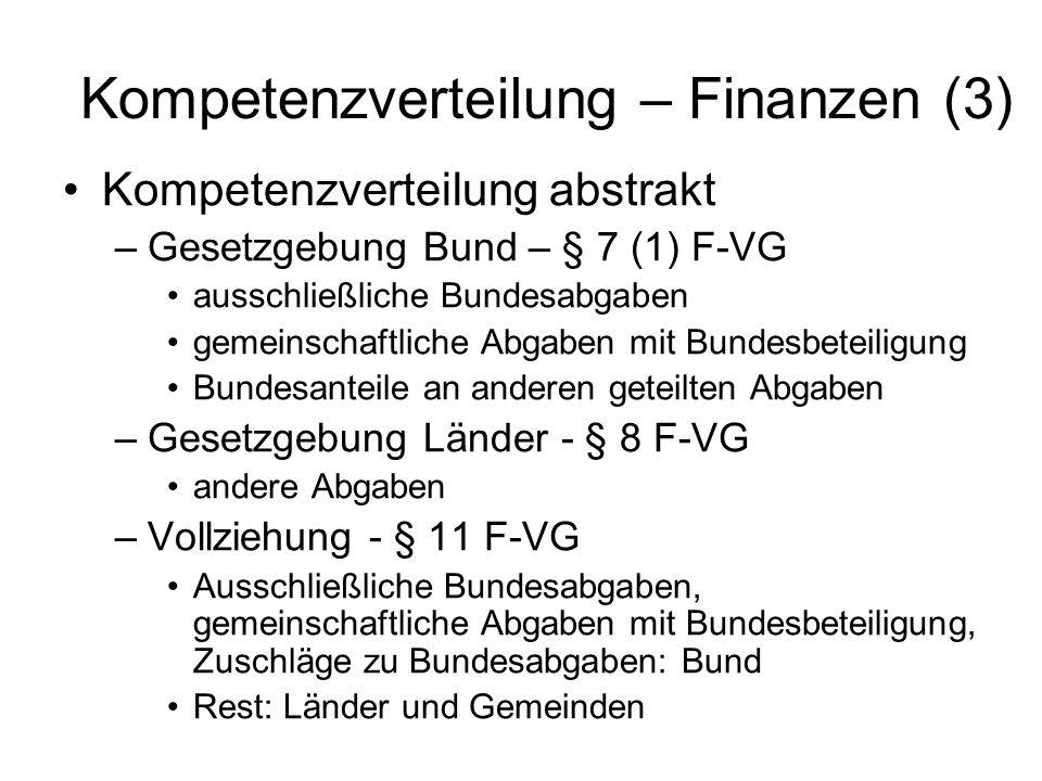 Kompetenzverteilung – Finanzen (3)