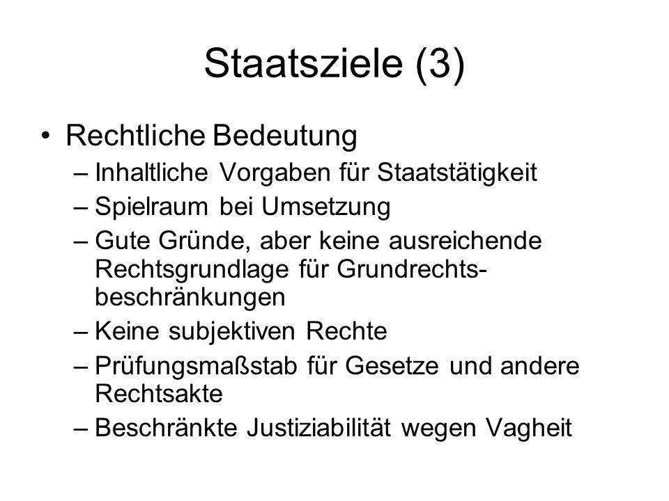Staatsziele (3) Rechtliche Bedeutung