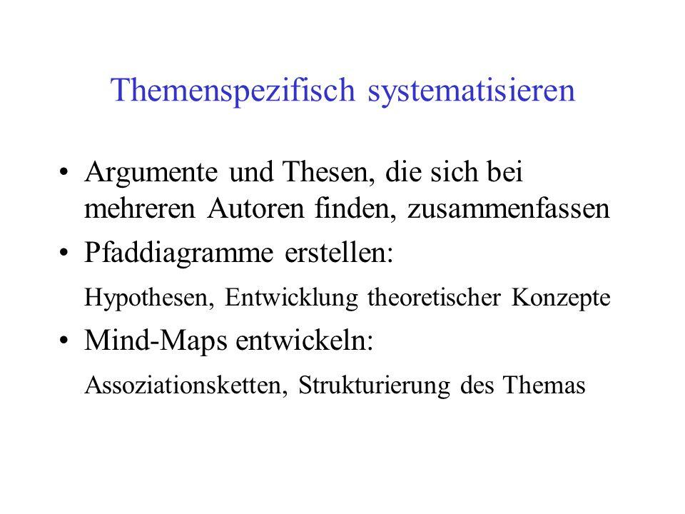 Themenspezifisch systematisieren