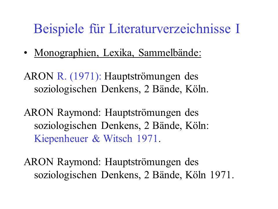 Beispiele für Literaturverzeichnisse I