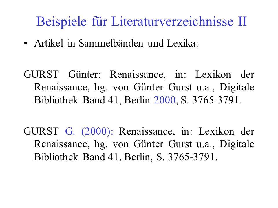 Beispiele für Literaturverzeichnisse II
