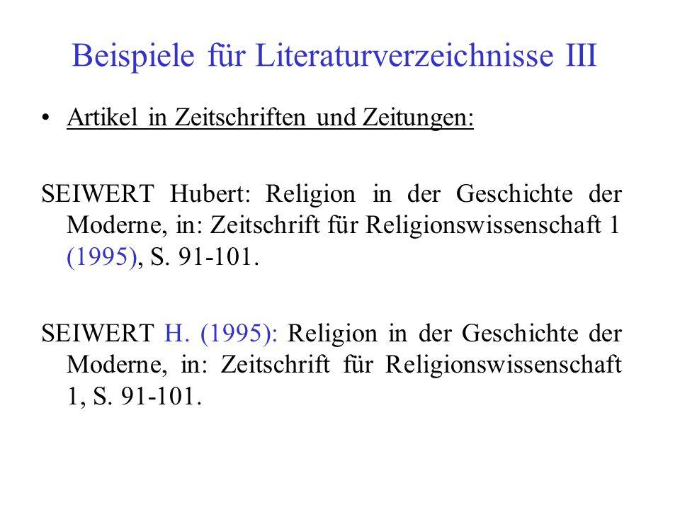 Beispiele für Literaturverzeichnisse III