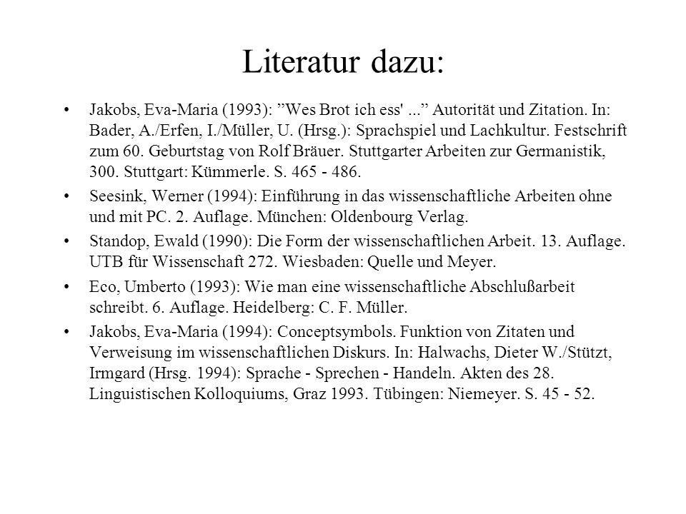 Literatur dazu: