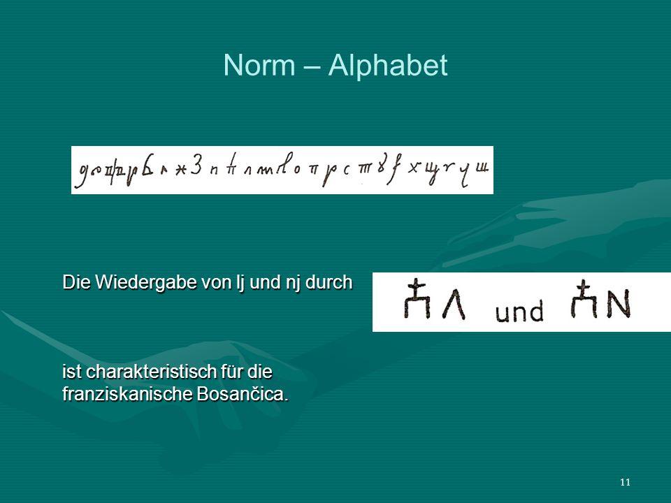 Norm – Alphabet Die Wiedergabe von lj und nj durch