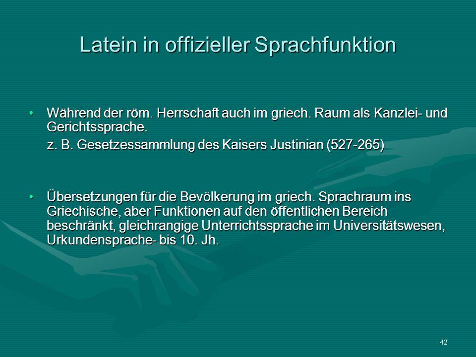 Latein in offizieller Sprachfunktion