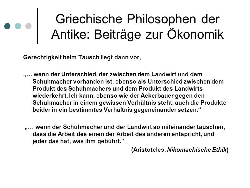 Griechische Philosophen der Antike: Beiträge zur Ökonomik