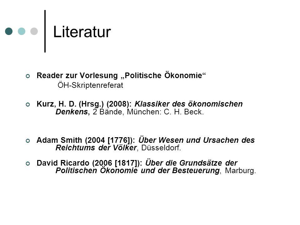 """Literatur Reader zur Vorlesung """"Politische Ökonomie"""