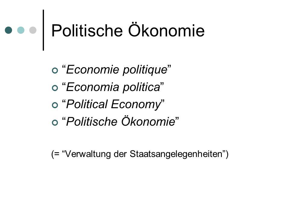 Politische Ökonomie Economie politique Economia politica