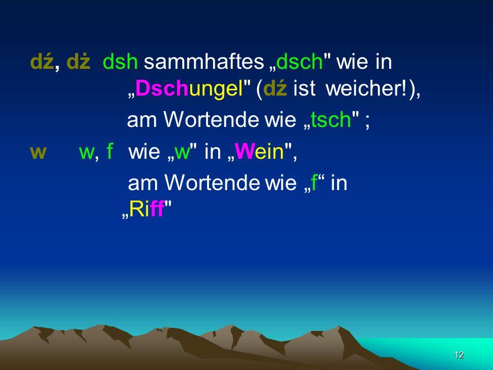 """dź, dż dsh sammhaftes """"dsch wie in """"Dschungel (dź ist weicher!),"""
