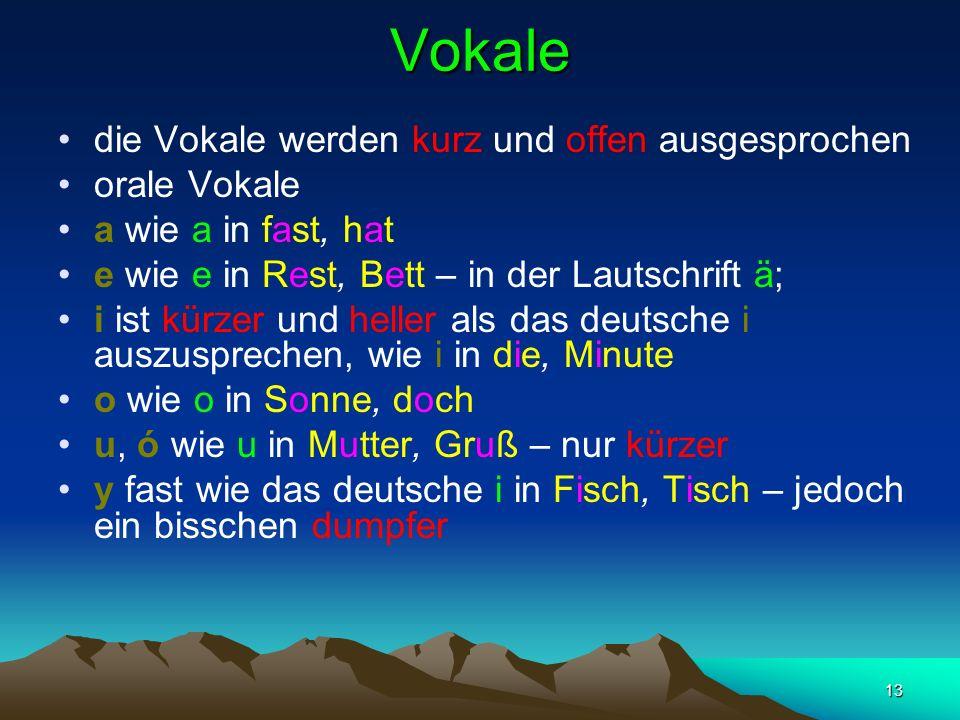 Vokale die Vokale werden kurz und offen ausgesprochen orale Vokale
