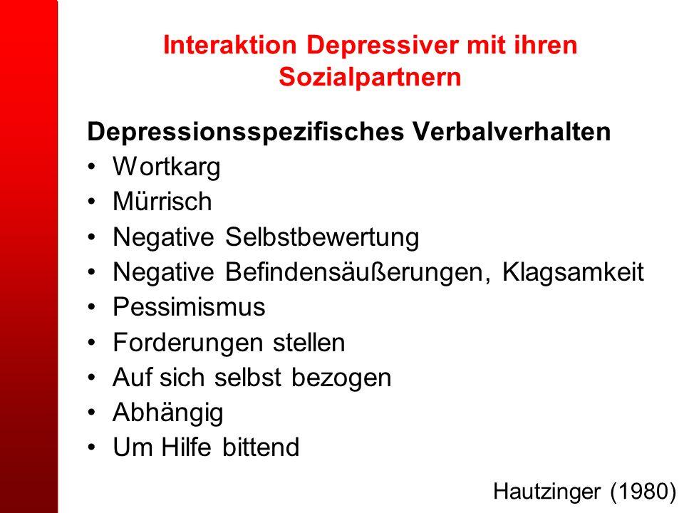 Interaktion Depressiver mit ihren Sozialpartnern