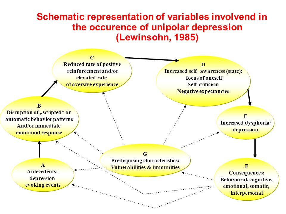 Schematic representation of variables involvend in the occurence of unipolar depression (Lewinsohn, 1985)