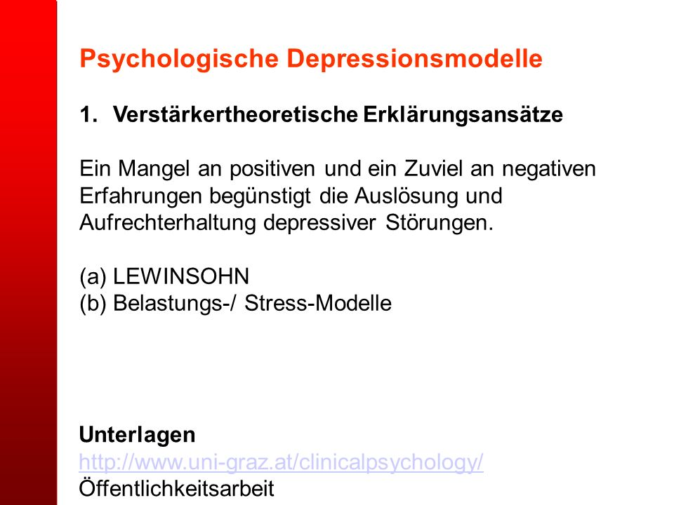 Psychologische Depressionsmodelle