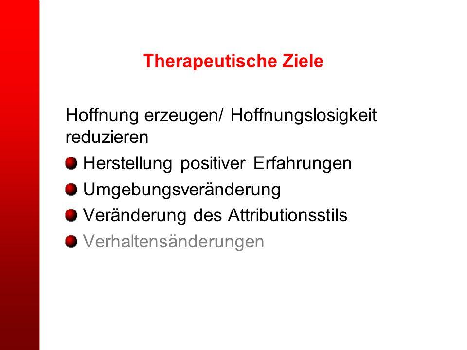 Therapeutische Ziele Hoffnung erzeugen/ Hoffnungslosigkeit reduzieren. Herstellung positiver Erfahrungen.