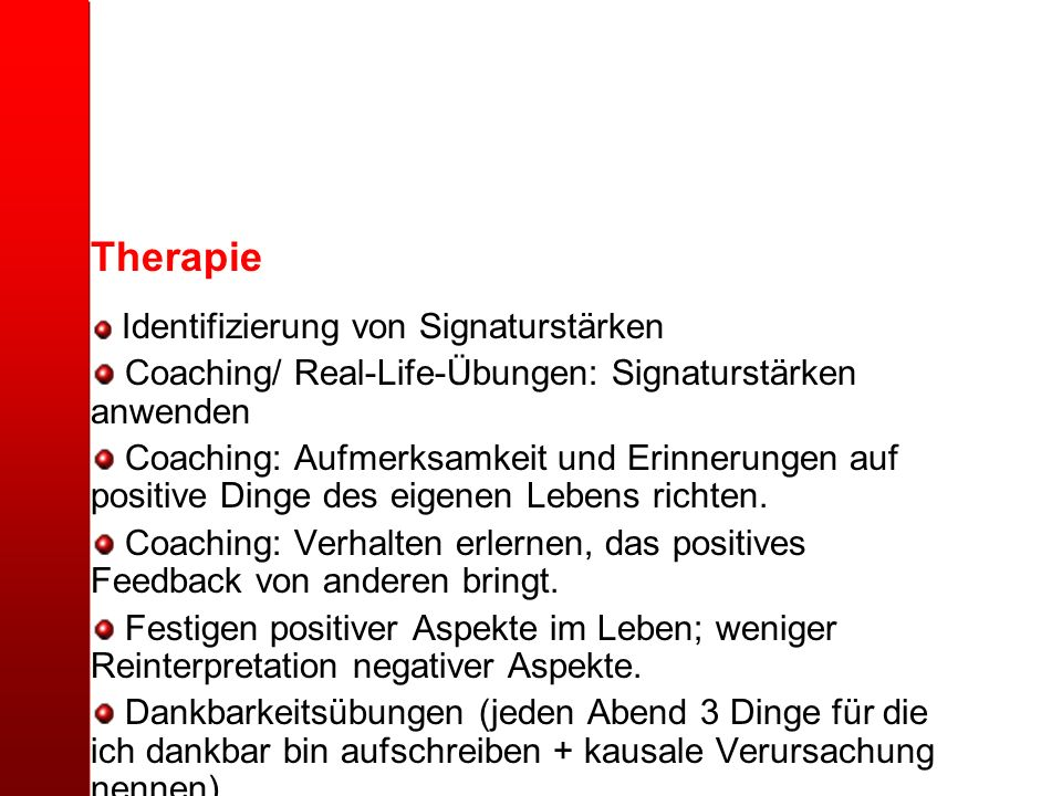 Therapie Coaching/ Real-Life-Übungen: Signaturstärken anwenden