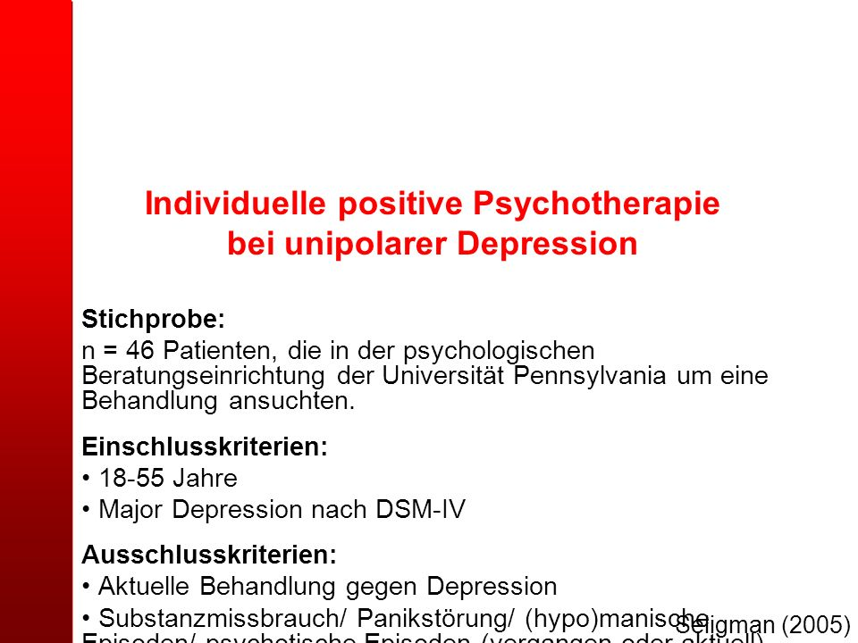 Individuelle positive Psychotherapie bei unipolarer Depression