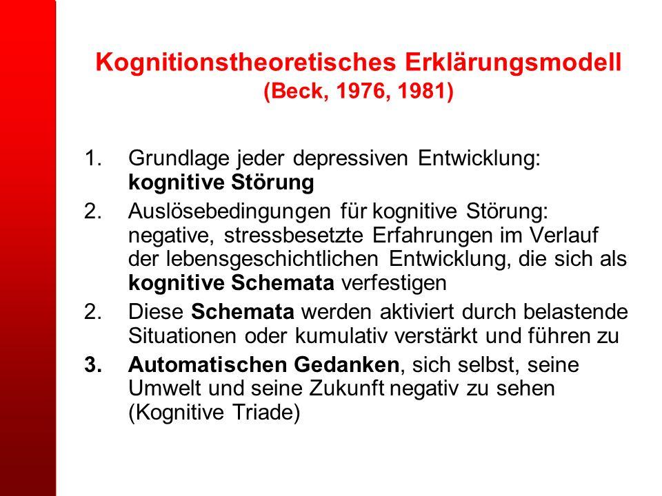 Kognitionstheoretisches Erklärungsmodell (Beck, 1976, 1981)